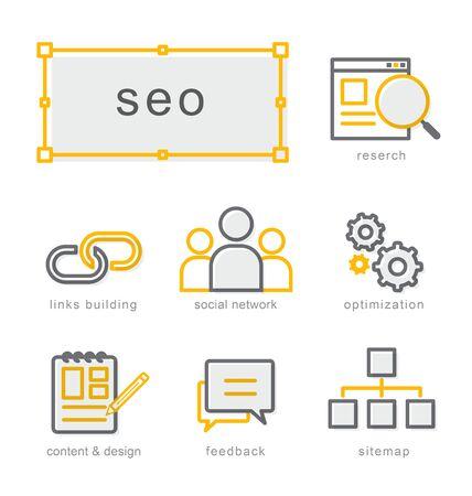 Thin line icons set, Linear symbols set, Search Engine Optimization