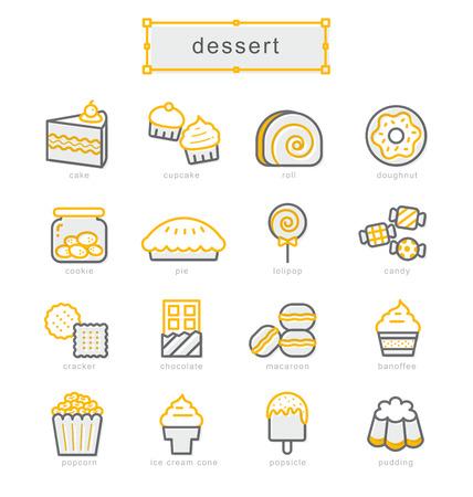 Thin line icons set, Linear symbols set, dessert 矢量图像