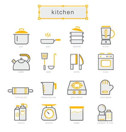 Thin line icons set, Linear symbols set, kitchen