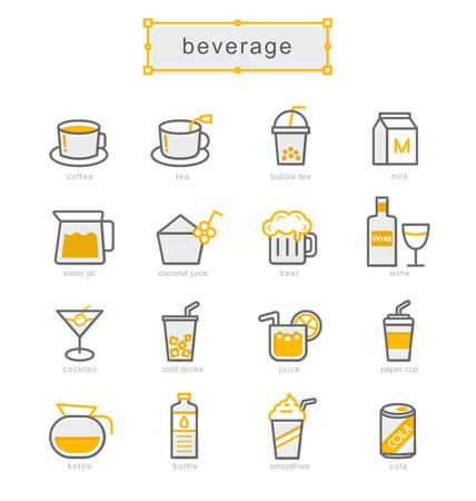 ice tea: Thin line icons set, Linear symbols set, beverage Illustration