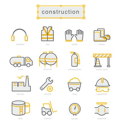 Thin line icons set, Linear symbols set, Construction