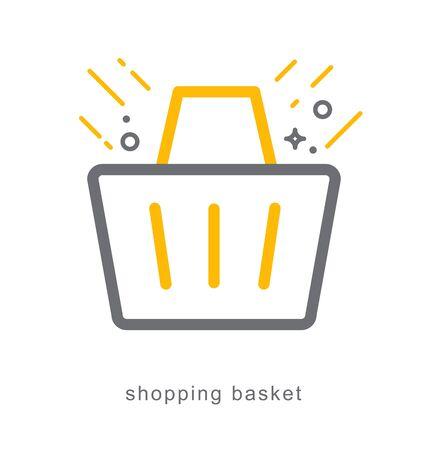 Thin line icons, Linear symbols, shopping basket Illustration