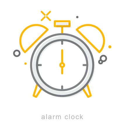 Thin line icons, Linear symbols, alarm clock Çizim