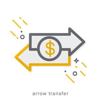 Thin line icons, Linear symbols, arrow transfer Illustration