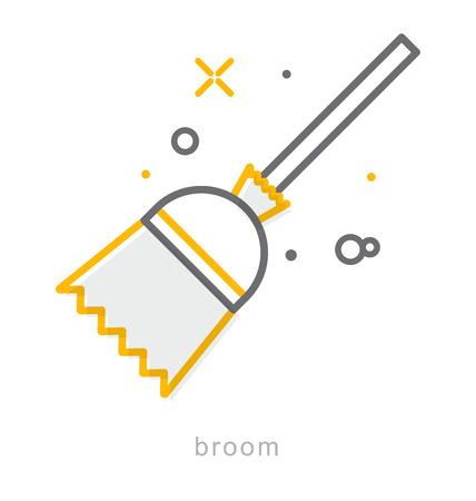 Thin line icons, Linear symbols, Broom