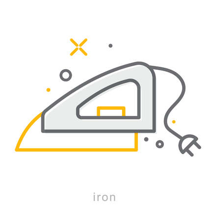 steam iron: Thin line icons, Linear symbols, Iron