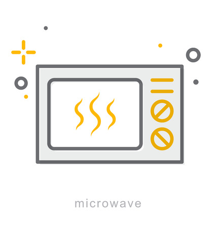Thin line icons, Linear symbols, Microwave