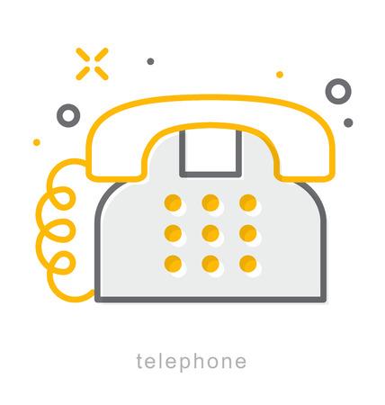 telephone icons: Thin line icons, Linear symbols, Telephone Illustration