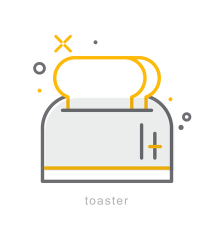 slow food: Thin line icons, Linear symbols, Toaster Illustration