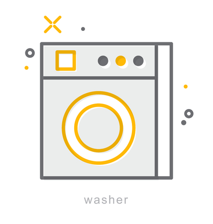 fully automatic: Thin line icons, Linear symbols, Washer