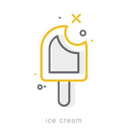 Thin line icons, Linear symbols, Ice cream