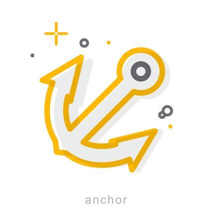 Thin line icons, Linear symbols, Anchor Иллюстрация
