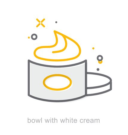 Thin line icons, Linear symbols, Bowl with white cream