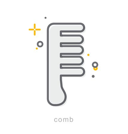 comb: Thin line icons, Linear symbols, Comb Illustration