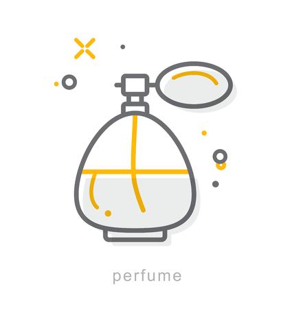 細い線のアイコン、線形シンボル香水