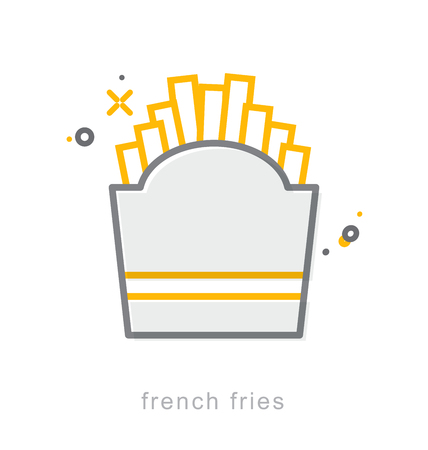 Thin line icons, Linear symbols, French fries Illustration