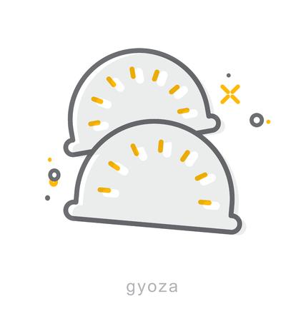 Thin line icons, Linear symbols, Gyoza