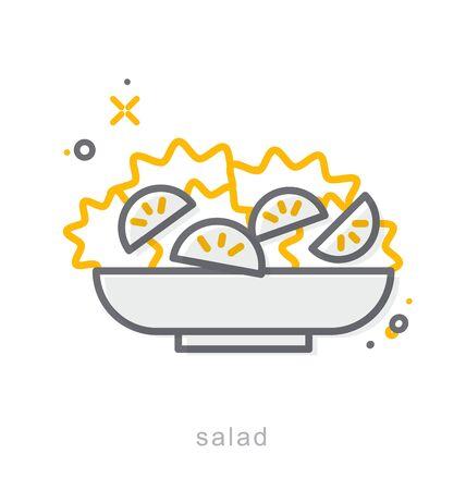 Thin line icons, Linear symbols, Salad