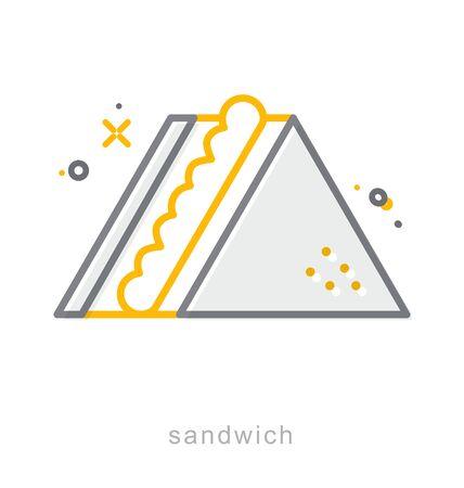 Thin line icons, Linear symbols, Sandwich