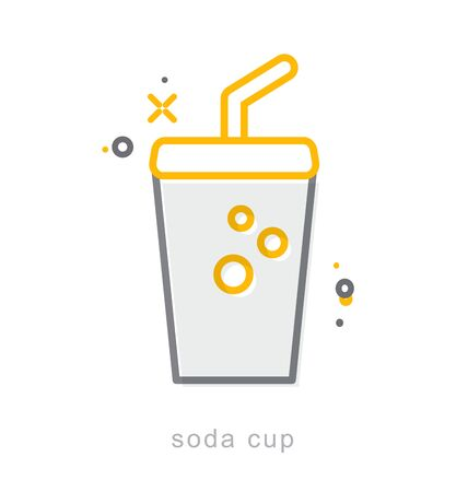 Thin line icons, Linear symbols, Soda cup