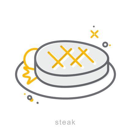 Thin line icons, Linear symbols, Steak dish 向量圖像