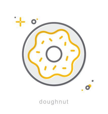 Thin line icons, Linear symbols, Doughnut Illustration