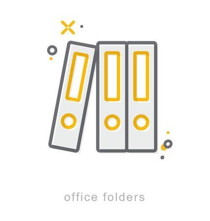 Thin line icons, Linear symbols, Office folders Ilustracja