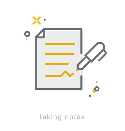 taking notes: Thin line icons, Linear symbols, Taking notes Illustration
