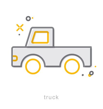 lorry: Thin line icons, Linear symbols, Truck