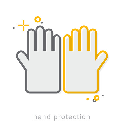 labeling: Thin line icons, Linear symbols, Hand protection