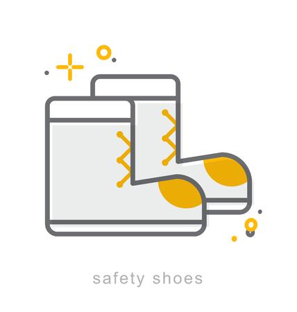 calzado de seguridad: Thin line icons, Linear symbols, Safety shoes