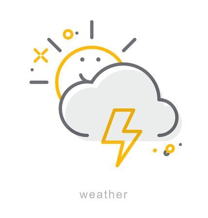 Thin line icons, Linear symbols, Weather Ilustrace