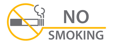 Label No smoking sticker, flat vector illustration Illustration