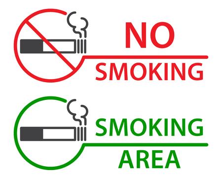 smoldering: No smoking and Smoking area labels, flat vector illustration Illustration