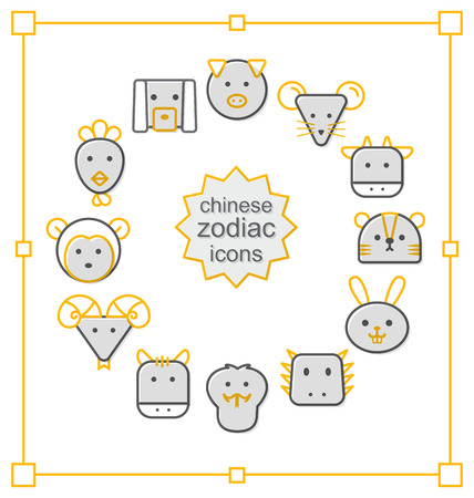 year of snake: Thin line icons set, Linear symbols set, Chinese Zodiac