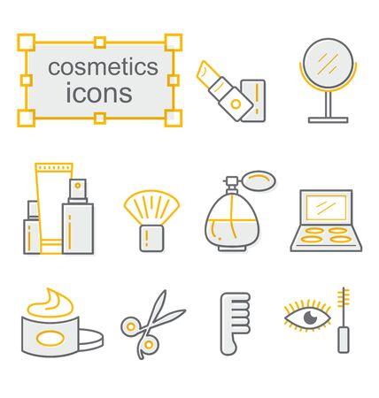 Thin line icons set, Linear symbols set, Cosmetics