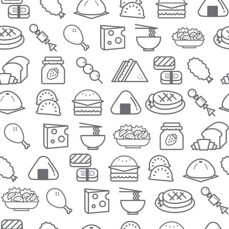 Different line style icons seamless pattern, icons set, Food