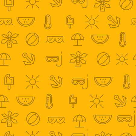Different line style icons seamless pattern, icons set, summer