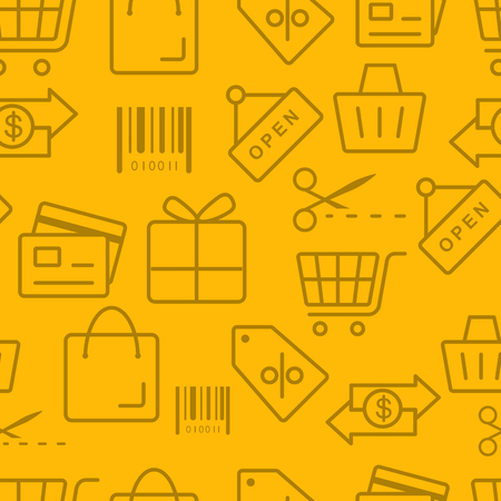 Thin line icons pattern, Shopping icon