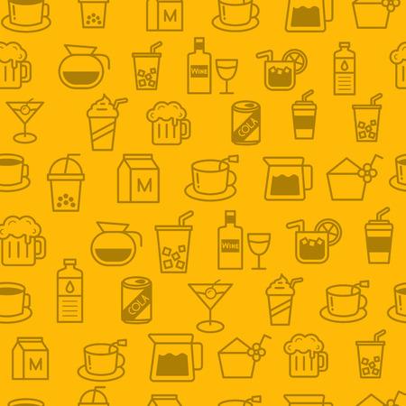 ice tea: Different line style icons seamless pattern, icons set, baverage Illustration
