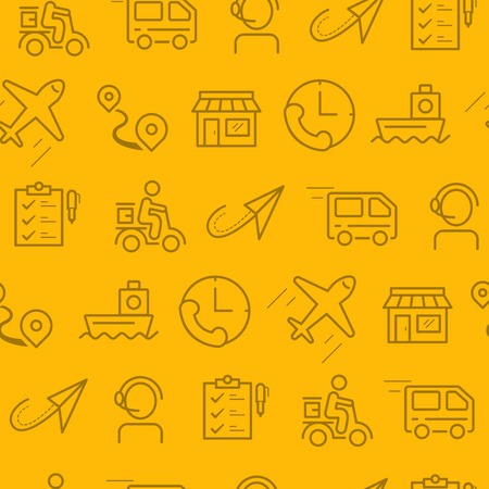 Different line style icons seamless pattern, icons set, Delivery Illustration