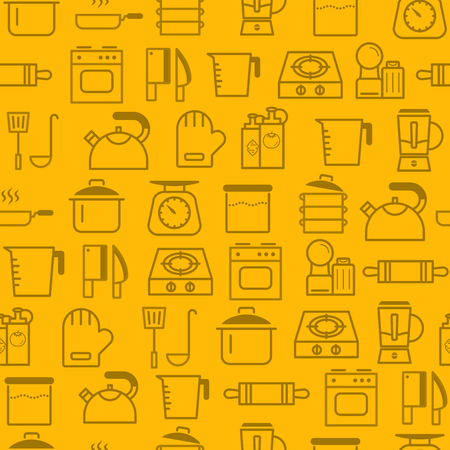 Different line style icons seamless pattern, icons set, Kitchen.