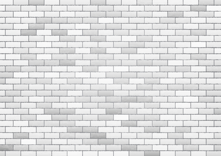 White brick wall texture background, vector Illustration