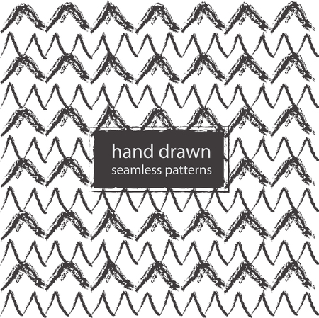 Hand drawn marker and ink seamless patterns, strokes and doodles