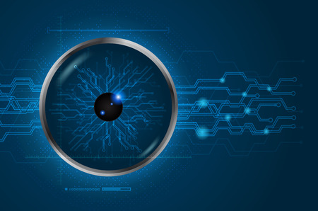 Eye scan concept of digital and technological. Cyber data digital. Blue abstract light hi speed internet technology background, Vector illustration