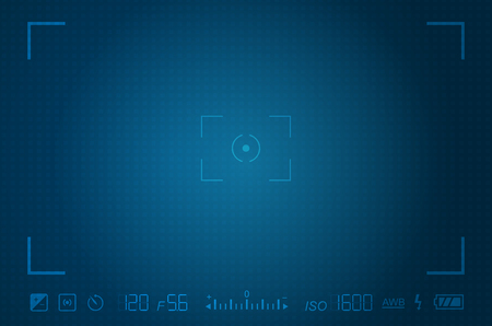 Video camera viewfinder template with exposure and camera settings Ilustracja
