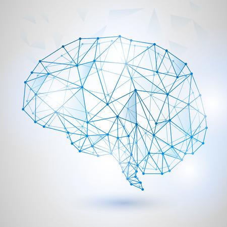 Sztuczna inteligencja koncepcji. Obwód pokładzie mózgu ikona logo, high tech stylu, technologia niska poliuretanowa konstrukcja ludzkiego mózgu z cyframi binarnymi. Symbol punktu mądrości