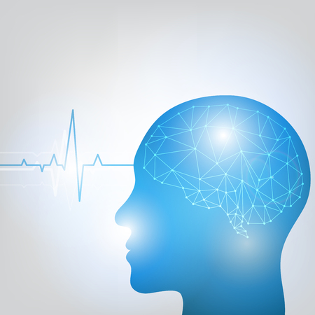 Human head and brain with brain waves activity vector illustration