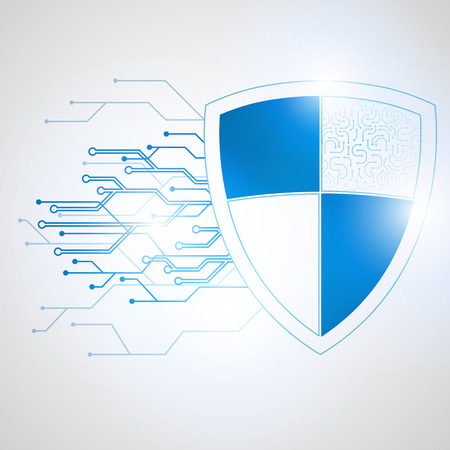 cybernetics: Abstract protection concept of digital and technological. Data security icon. Circuit board shield, Vector illustration Illustration