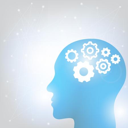 人間の頭と脳だ背景に示された脳活動によって生成される波形の異なる種類。ベクターイラスト  イラスト・ベクター素材